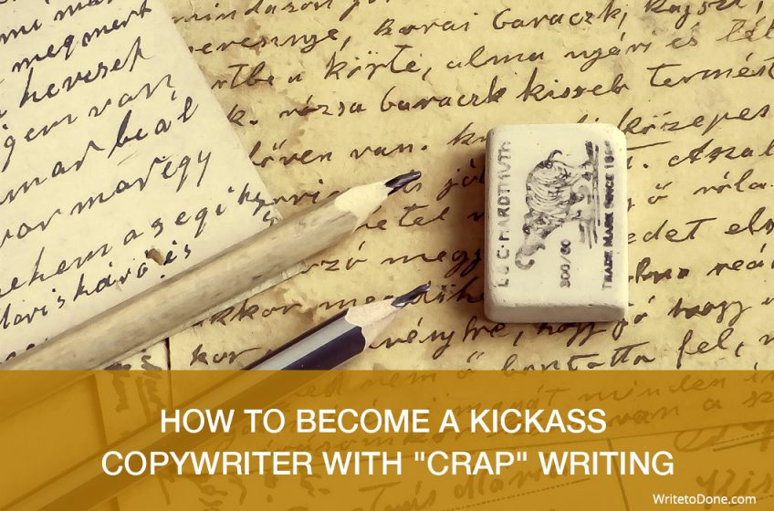 how to become a kickass copywriter - book, pencil and rubber
